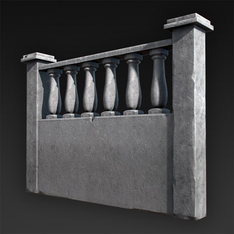 concrete fences 3d obj