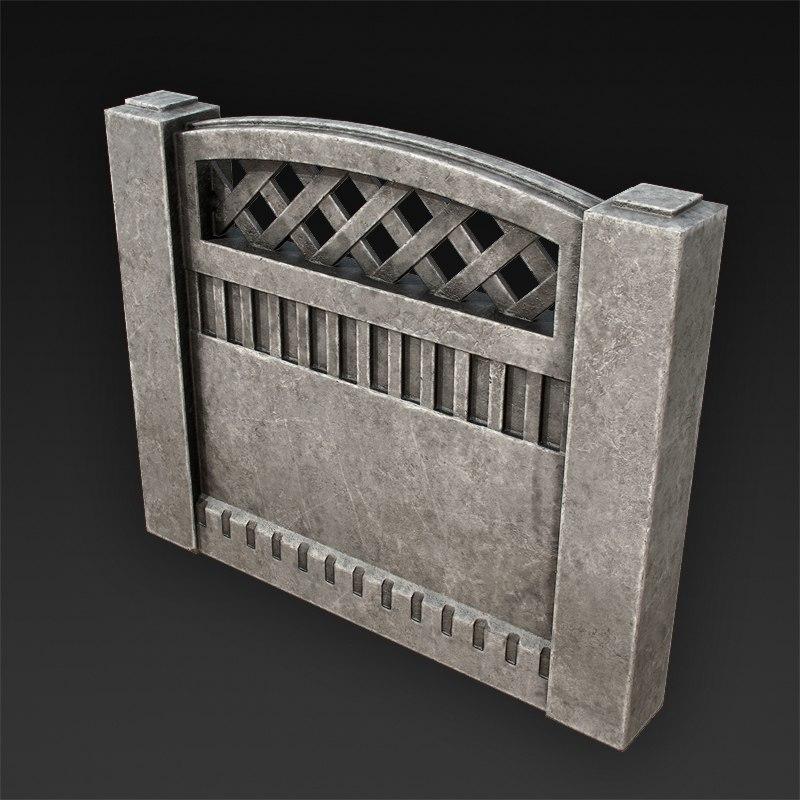 3d concrete fences model