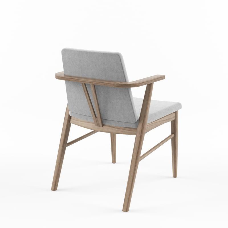 3d max armchair walnut gray