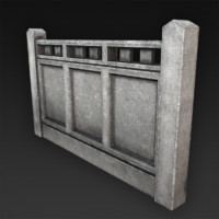 concrete fences 3d model