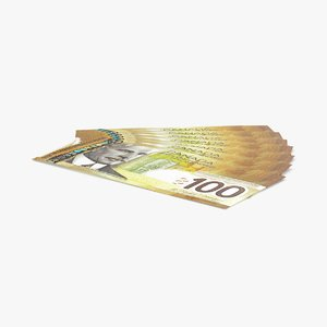 3d model 100 canadian dollar note