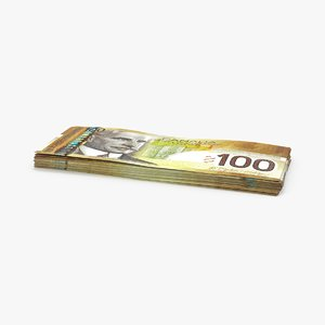 3d 100 canadian dollar note model