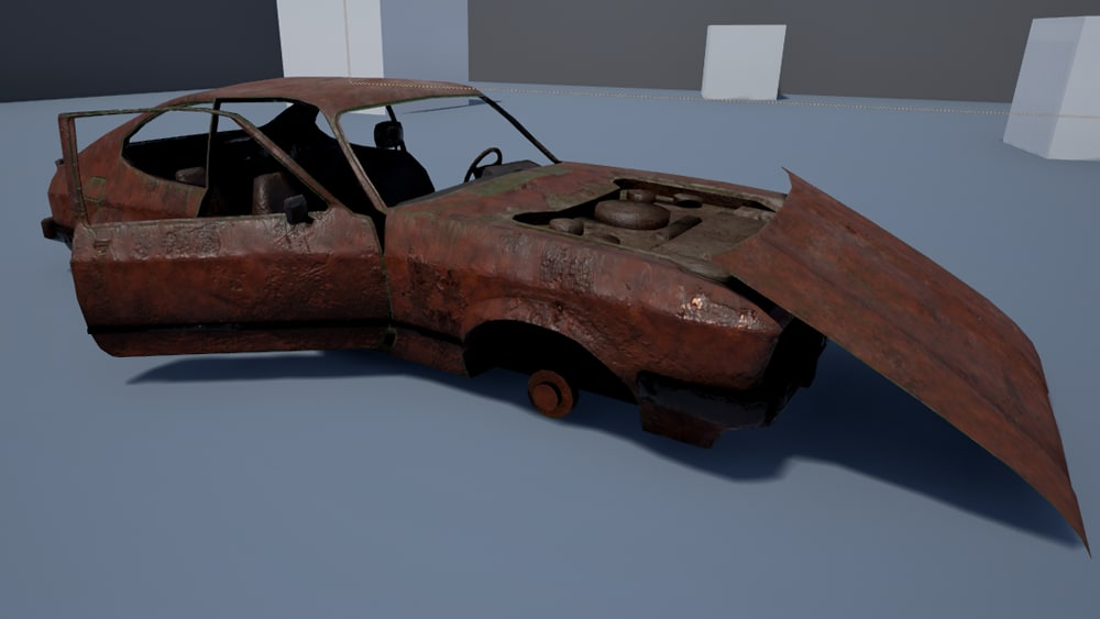 3d model rusty coupe