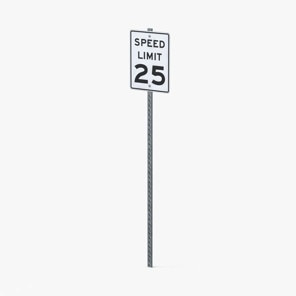 3d model speed limit sign 25