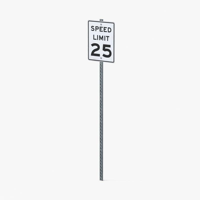 3d model speed limit sign 25