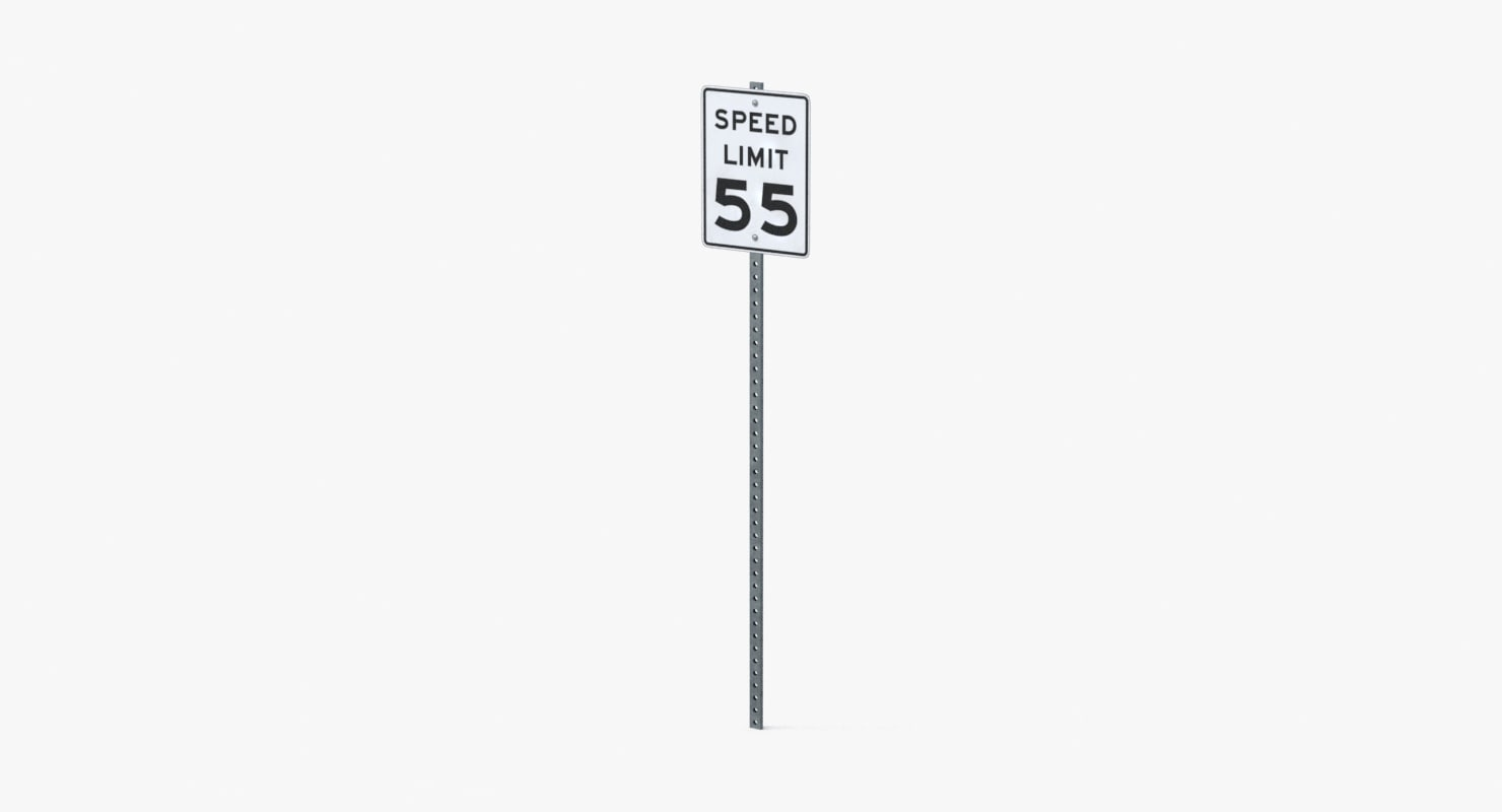 speed limit sign 55 3d model
