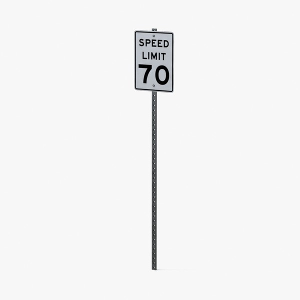 speed limit sign 70 3d max