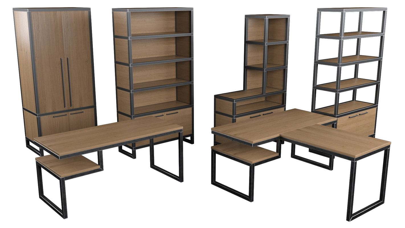 loft furniture cabinet table 3d model