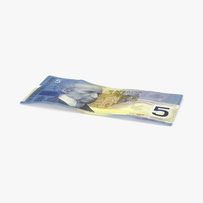 3d model 5 canadian dollar note