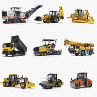 Collection of Public Works Machines v2 JCB 3CX Wirtgen W200 Iveco Trakker Volvo ABG6870 JCB Vibromax VM115 HAMM-HD90