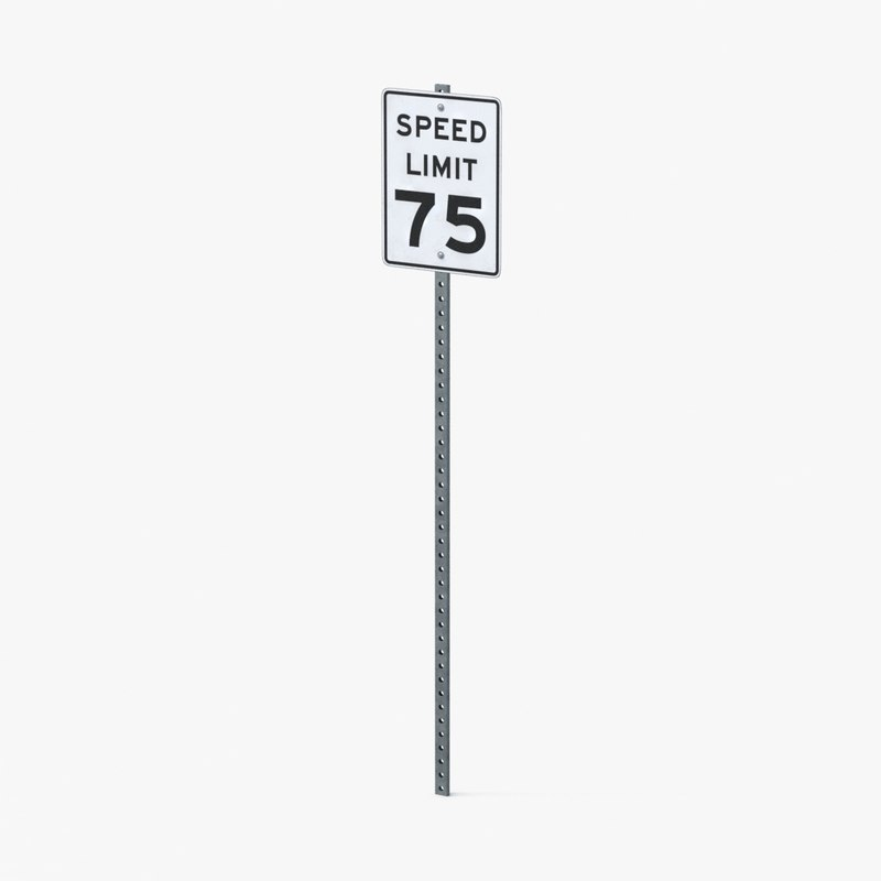 speed limit sign 75 3d max