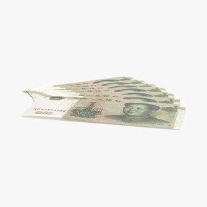 1 yuan note fanned 3d model
