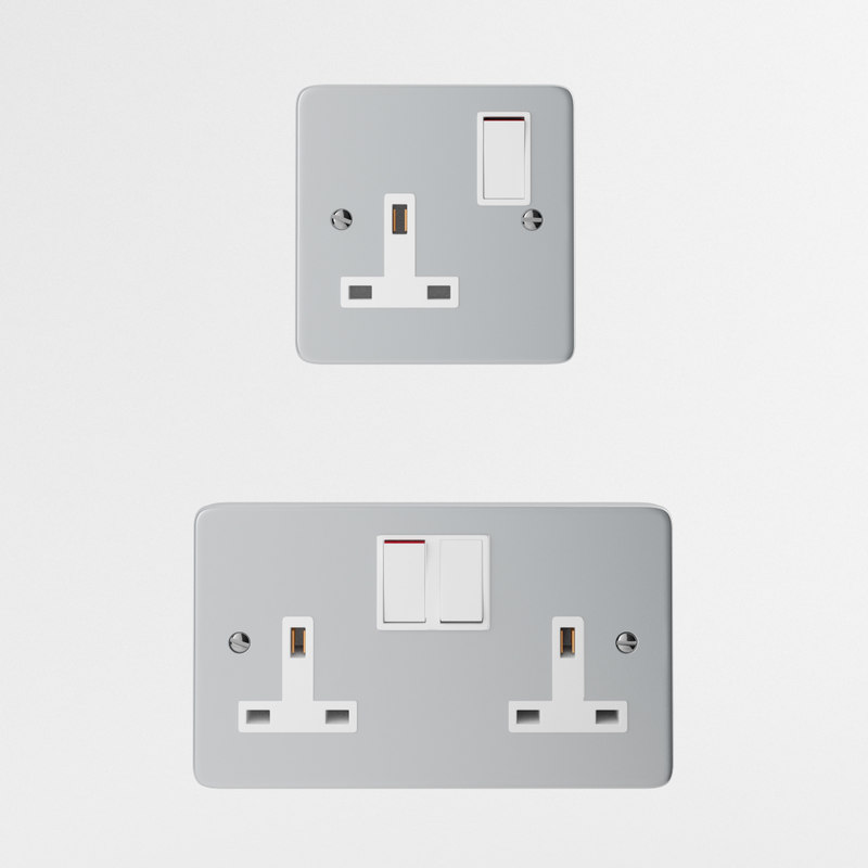 aluminum uk wall outlet 3d model