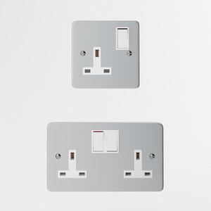 aluminum uk wall outlet 3d model