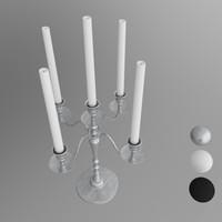 candlestick metal 4-arm 3d model