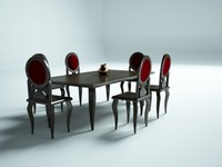 3d model of vintage dining table