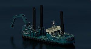 3d dredger barge