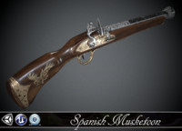 Spanish Flintlock Musketoon - model and textures
