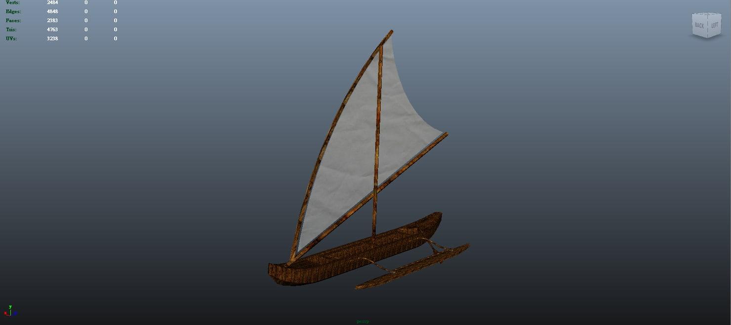 3d outrigger canoe