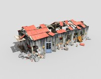 3d destroyed building