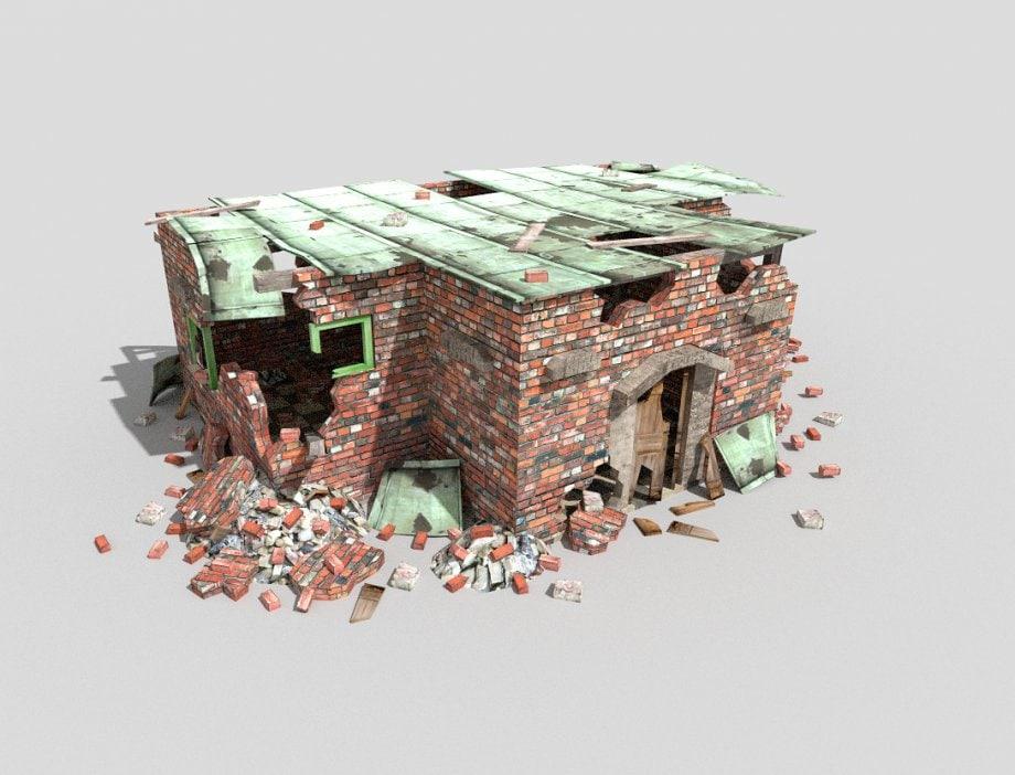 destroyed building 3d model