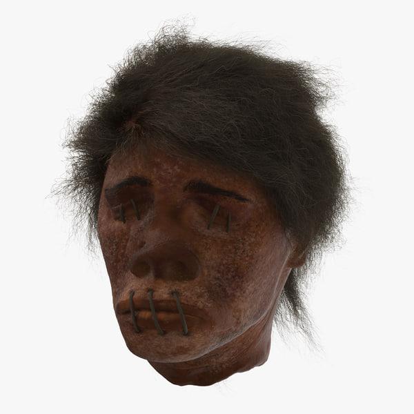 3d model shrunken head 01