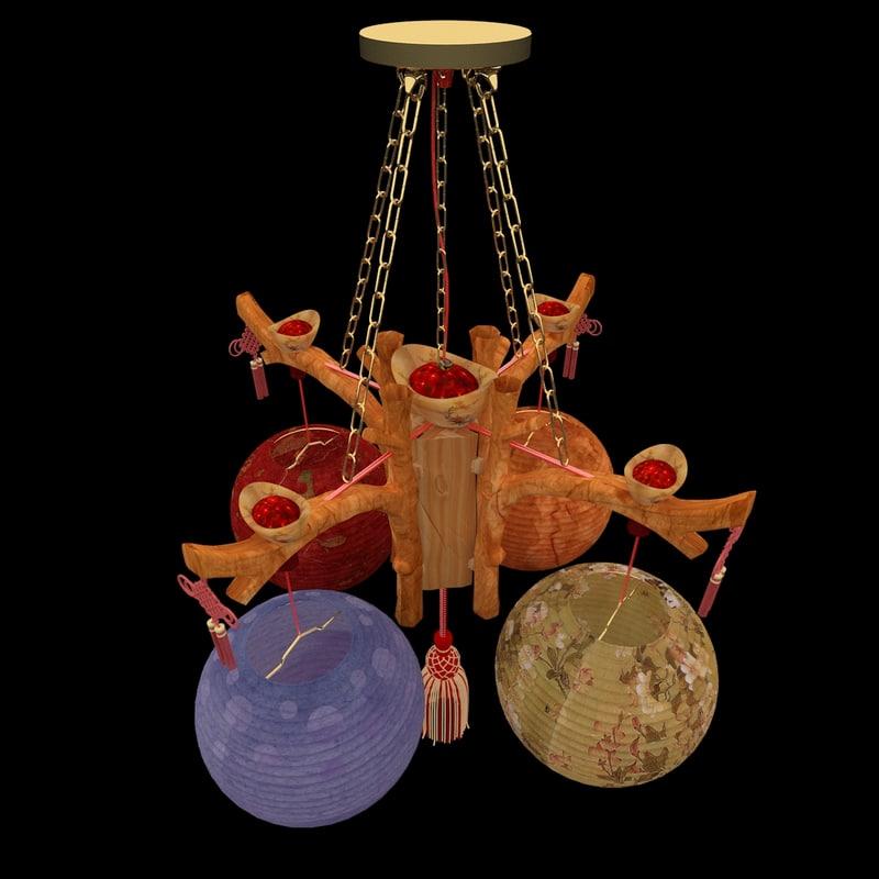 3d model chinesered lantern