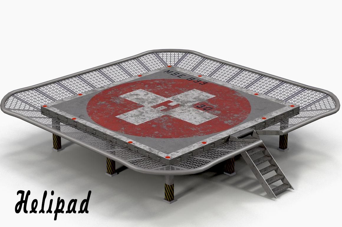 3d model helicopter platform