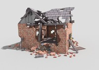 low poly destroyed house