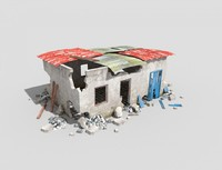 low poly destroyed building