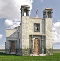 3d old abandoned church model