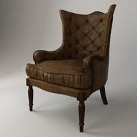 3d armchair wood leather