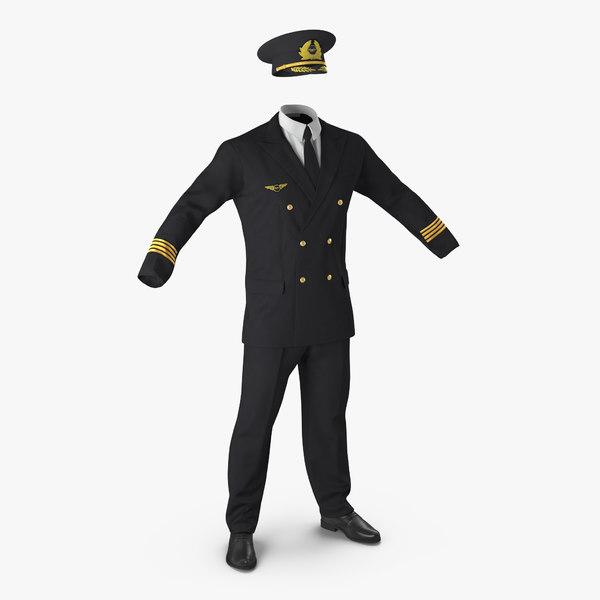 airline pilot uniform 3d c4d