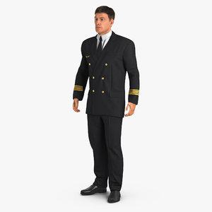 airline pilot fur standing 3d max