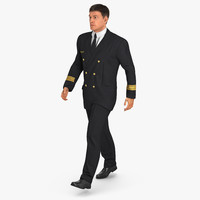 3d airline pilot fur walking model