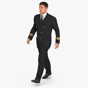 3d airline pilot fur walking model