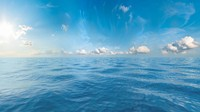 Seascape background with seamless sky panorama, 360 degrees.