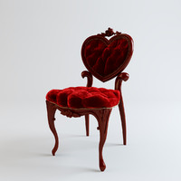 Heart Tufted Red Velvet Chair