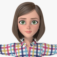 cartoon girl woman hair 3d model