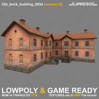 Lowpoly two-floor old brick building - old_brick_building_003d