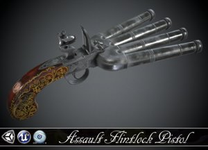 3d model pistol flintlock barrel