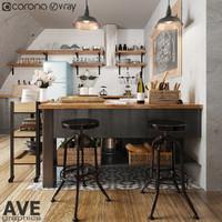 kitchen bar 3d max