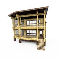 modern wood log house 3ds