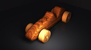 elegant wooden car 3d obj