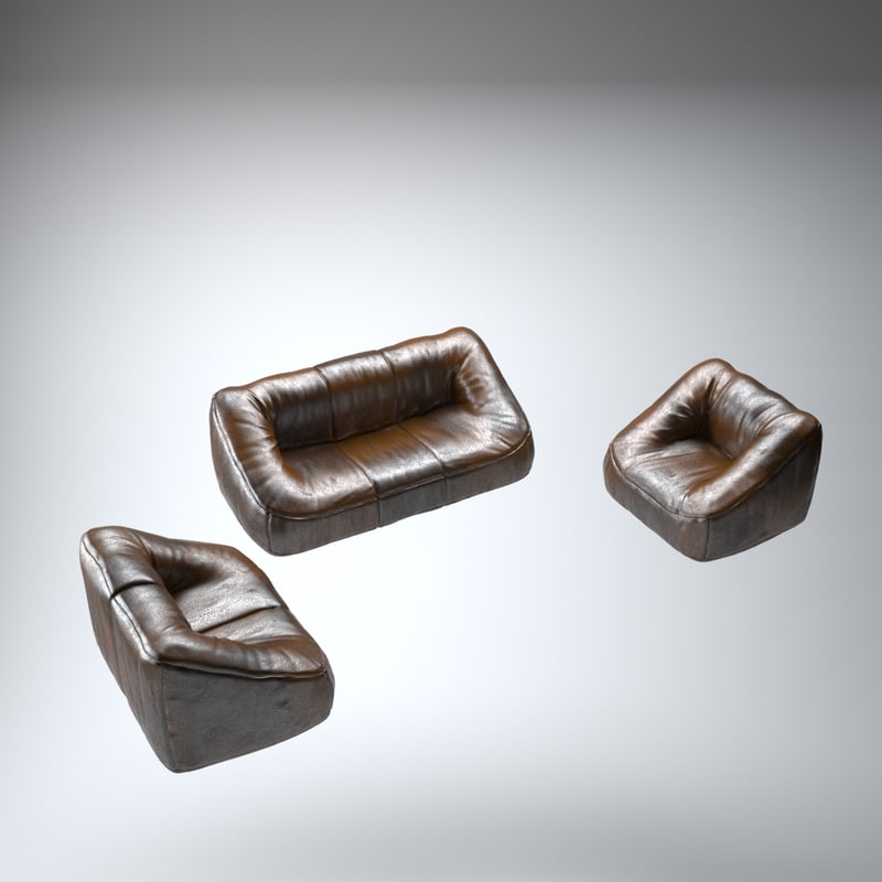 3d model leather room furniture set