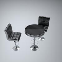 3d set bar furniture