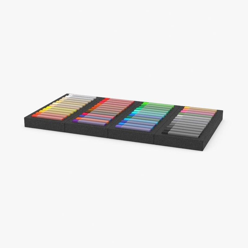 3d model soft pastel set