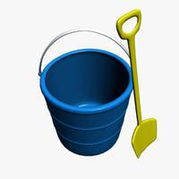 3d beach bucket shovel model