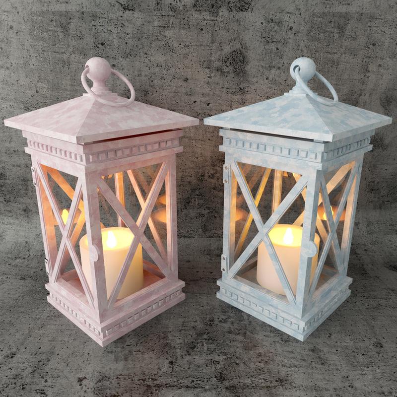3d lantern lamp lights model