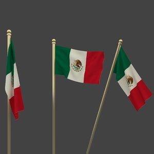 3d flag mexico model